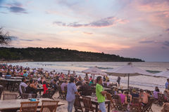 Jimbaran beach restaurants Royalty Free Stock Photo