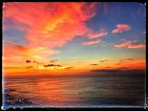 Jimbaran plaży zmierzch fotografia stock