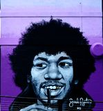 Jimi Hendrix graffiti stock images