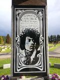 Jimi Hendrix Memorial Renton, Washington. Elaborate memorial dedicated to guitarist Jimi Hendrix in the Greenwood Memorial Park cemetery Stock Photos