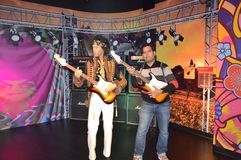 Jimi Hendrix wax statue at madame tussauds wax museum, SFO stock photos