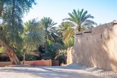 Jimi Oasis in Al Ain in the UAE. A traditional building the edge of Jimi Oasis in Al Ain, in the emirate of Abu Dhabi, United Arab Emirates stock photos