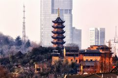 Jiming Temple. Seven storied pagoda and Jiming Temple in the city of Nanjing located in Jiangsu province China Royalty Free Stock Photo