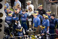Jimmie Johnson Celebrates with his Team. In victory lane after winning the Allstate 400 at the Brickyard 400 on July 27, 2008. The annual NASCAR race is held royalty free stock images