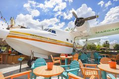 Jimmy Buffet`s Airplane, The Hemisphere Dancer. At Margaritaville in Orlando, Florida. It is located inside Universal CitiWalk royalty free stock photo