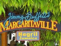 Jimmy Buffett's Margaritaville. Sign from Jimmy Buffett's Margaritaville, Negril, Jamaica Stock Image