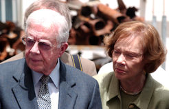 Jimmy Carter and his Wife Eleanor Rosalynn Smith. SDEROT, ISR - APR 14:Former US president Jimmy Carter and his wife Eleanor Rosalynn Smith on April 14, 2008 Stock Photo