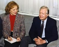 Jimmy Carter and Rosalynn Carter. Jimmy Carter, 39th president of the United States visiting in Jerusalem, Israel where he held meetings with Israeli and Arab royalty free stock photo