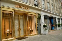 Jimmy Choo Dior high fashion stores Royalty Free Stock Photo