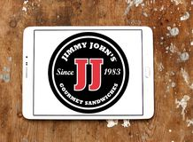Jimmy John`s sandwich restaurant logo. Logo of Jimmy John`s restaurant on samsung tablet . Jimmy John`s Franchise, LLC is a franchised sandwich restaurant chain royalty free stock photo