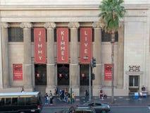 Jimmy Kimmel Live filmant l'emplacement au temple maçonnique de Hollywood photographie stock
