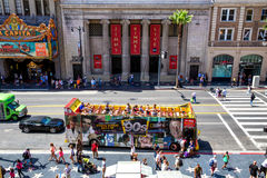 Jimmy Kimmel Live Show. Tourists  bus in front of the Hollywood Masonic Temple, the home of Jimmy Kimmel Live, Hollywood, California Royalty Free Stock Photos