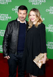 Jimmy Kimmel and Molly McNearney. At the Los Angeles premiere of `Office Christmas Party` held at the Regency Village Theatre in Westwood, USA on December 7 Royalty Free Stock Image