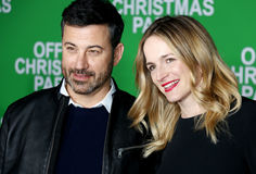 Jimmy Kimmel and Molly McNearney. At the Los Angeles premiere of `Office Christmas Party` held at the Regency Village Theatre in Westwood, USA on December 7 Stock Photos