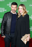 Jimmy Kimmel and Molly McNearney. At the Los Angeles premiere of `Office Christmas Party` held at the Regency Village Theatre in Westwood, USA on December 7 Stock Image