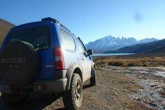 A Jimny in Torres del Paine National Park. Torres del Paine National Park is located in the Chilean Patagonia near the city of Puerto Natales Royalty Free Stock Photos