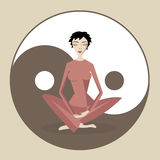 Jin jang. Meditating woman on jin jang symbol Stock Images