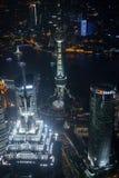 Jin Mao e torri orientali della perla alla notte Fotografia Stock Libera da Diritti