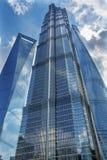 Jin Mao Tower Three Skyscrapers Liujiashui Shanghai China fotografia de stock royalty free