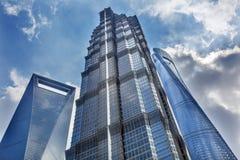 Jin Mao Tower Three Skyscrapers Liujiashui Shanghai China Foto de Stock Royalty Free