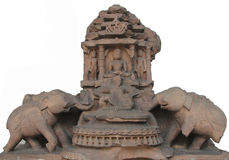 Jina attended by elephants exposed in the Indian Museum in Kolkata. Jina attended by elephants, from 11th century found in Madhya Pradesh now exposed in the Stock Photography