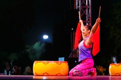Jinan acrobatic troupe. BANGKOK, THAILAND - FEBRUARY 20 2016: Jinan acrobatic troupe performing in Rama IX Park in a Chinese new year Celebration. The group is stock photo