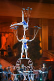 Jinan acrobatic troupe. BANGKOK, THAILAND - FEBRUARY 20 2016: Jinan acrobatic troupe performing in Rama IX Park in a Chinese new year Celebration. The group is stock image