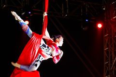Jinan acrobatic troupe. BANGKOK, THAILAND - FEBRUARY 20 2016: Jinan acrobatic troupe performing in Rama IX Park in a Chinese new year Celebration. The group is stock photography
