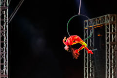 Jinan acrobatic troupe. BANGKOK, THAILAND - FEBRUARY 20 2016: Jinan acrobatic troupe performing in Rama IX Park in a Chinese new year Celebration. The group is royalty free stock photo