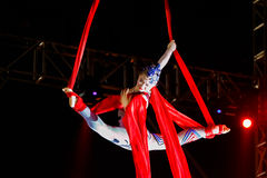 Jinan acrobatic troupe. BANGKOK, THAILAND - FEBRUARY 20 2016: Jinan acrobatic troupe performing in Rama IX Park in a Chinese new year Celebration. The group is royalty free stock photography