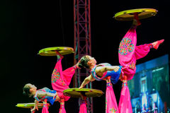 Jinan acrobatic troupe. BANGKOK, THAILAND - FEBRUARY 20 2016: Jinan acrobatic troupe performing in Rama IX Park in a Chinese new year Celebration. The group is royalty free stock photos