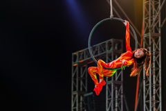 Jinan acrobatic troupe. BANGKOK, THAILAND - FEBRUARY 20 2016: Jinan acrobatic troupe performing in Rama IX Park in a Chinese new year Celebration. The group is royalty free stock images