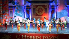 Jinan acrobatic troupe performs in St. Petersburg, Russia stock video footage
