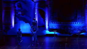 Jinan acrobatic troupe performs in St. Petersburg, Russia stock footage