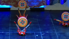 Jinan acrobatic troupe performs in St. Petersburg, Russia stock video