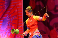 Jinan acrobatic troupe performs in St. Petersburg, Russia Royalty Free Stock Photography
