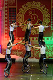 Jinan acrobatic troupe performs in St. Petersburg, Russia Royalty Free Stock Images