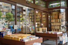 Secondhand bookseller in japan。. Jinbōchō 神保町 `Godly Protected Town`, sometimes spelled Jimbocho is a district of Chiyoda, Tokyo royalty free stock photos