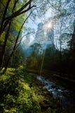 Sunshine at Jinbian stream in Zhangjiajie Wulingyuan. Jinbian stream is located in Zhangjiajie, named for through the golden whip rock, total length of 5710 Stock Photo