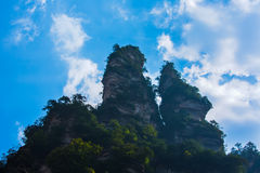 A small mountain under sky at Jinbian stream in Zhangjiajie Wulingyuan. Jinbian stream is located in Zhangjiajie, named for through the golden whip rock, total royalty free stock images