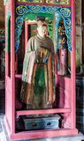 Jinci Memorial Temple(museum) scene. Maidservant coloured clay sculpture at the Saintly Mother hall. Jinci is a famous old garden of China. It lies in the Royalty Free Stock Photos