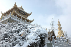 Jinding temple and Puxian Buddha. Temple at the top of MT.Emei Stock Photos