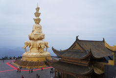 Jinding temple and Puxian Buddha of MT.Emei Stock Photography