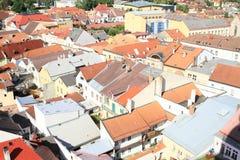 屋顶在Jindrichuv赫拉德茨 库存照片