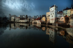 Jindrichuv Hradec. A double exposure image of the castle and surrounding houses in Jindrichuv Hradec, South Bohemia, Czech Republic Stock Image