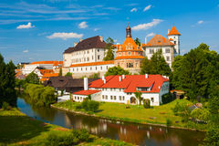Jindrichuv Hradec. Beautiful renaissance era castle with Roundel pavillon in Jindrichuv Hradec was built in 16th century and is located on the hill near the Royalty Free Stock Images