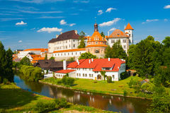 Jindrichuv Hradec. Beautiful renaissance era castle with Roundel pavillon in Jindrichuv Hradec was built in 16th century and is located on the hill near the Royalty Free Stock Image
