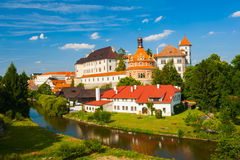 Jindrichuv Hradec. Beautiful renaissance era castle with Roundel pavillon in Jindrichuv Hradec was built in 16th century and is located on the hill near the Stock Photo