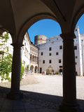 Jindrichuv Hradec castle, Czech Republic. The courtyard with a well and small arcades at the Jindrichuv Hradec castle, Czech Republic Stock Photos