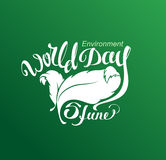 5 Jine World Environment Day. Lettering text for greeting card Stock Image